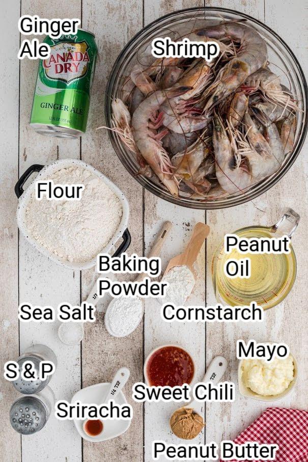 ingredients showing shrimp, ginger ale, flour, cornstarch, baking powder