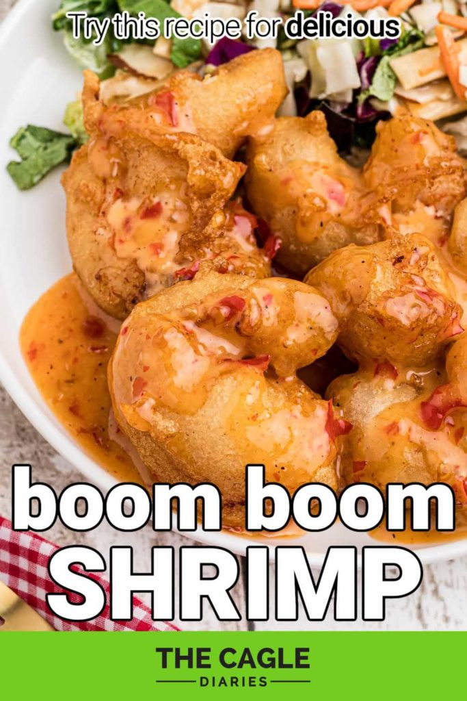 close up of a plate of boom boom shrimp with the title underneath, for a pinterest pin