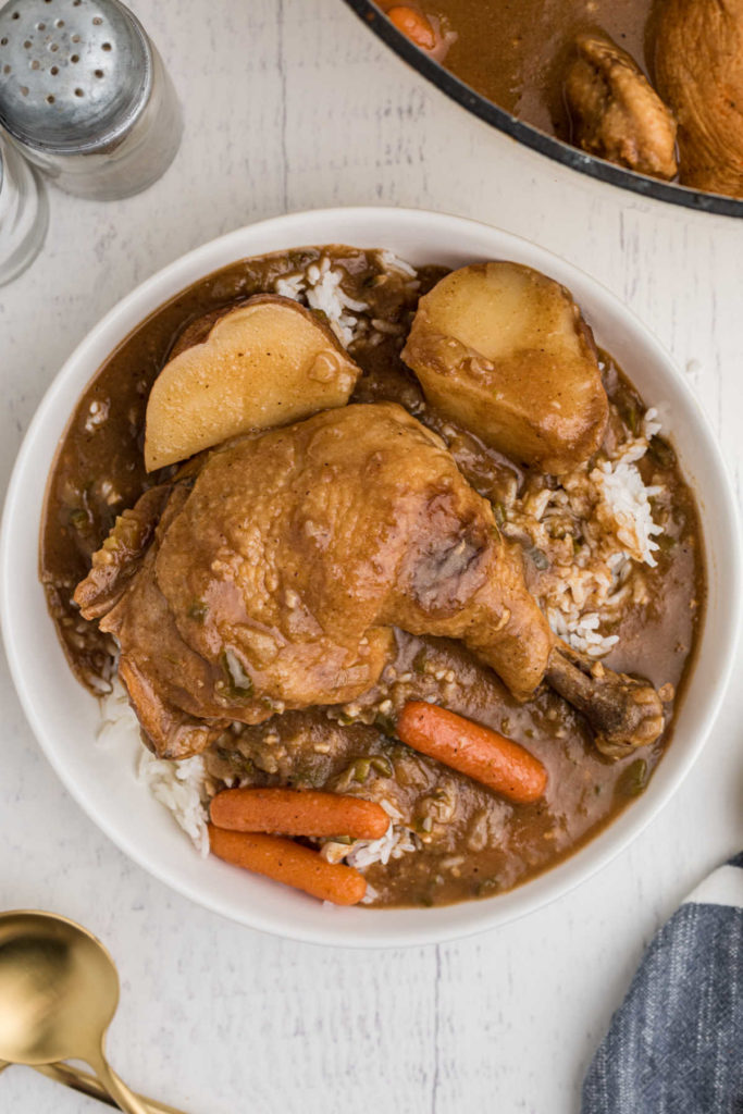 bowl of rice topped with chicken stew, whole leg with carrots and potatoes