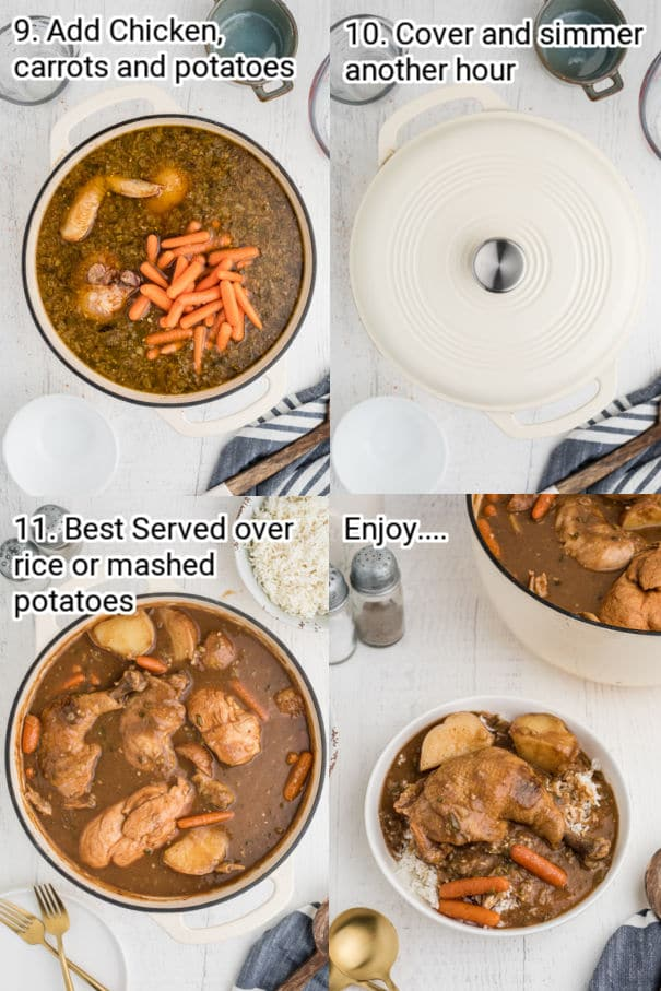 recipe steps 9-12 showing how to cook a chicken stew