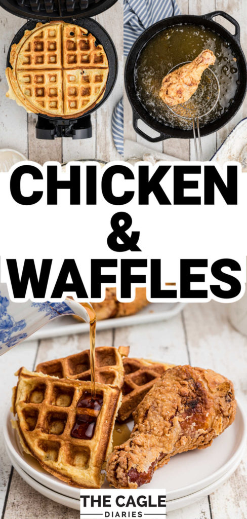 3 images - first image is a waffle cooked on a waffle iron, 2nd picture is a piece of chicken being fried and the bottom picture is a plate of chicken and waffles with syrup being poured