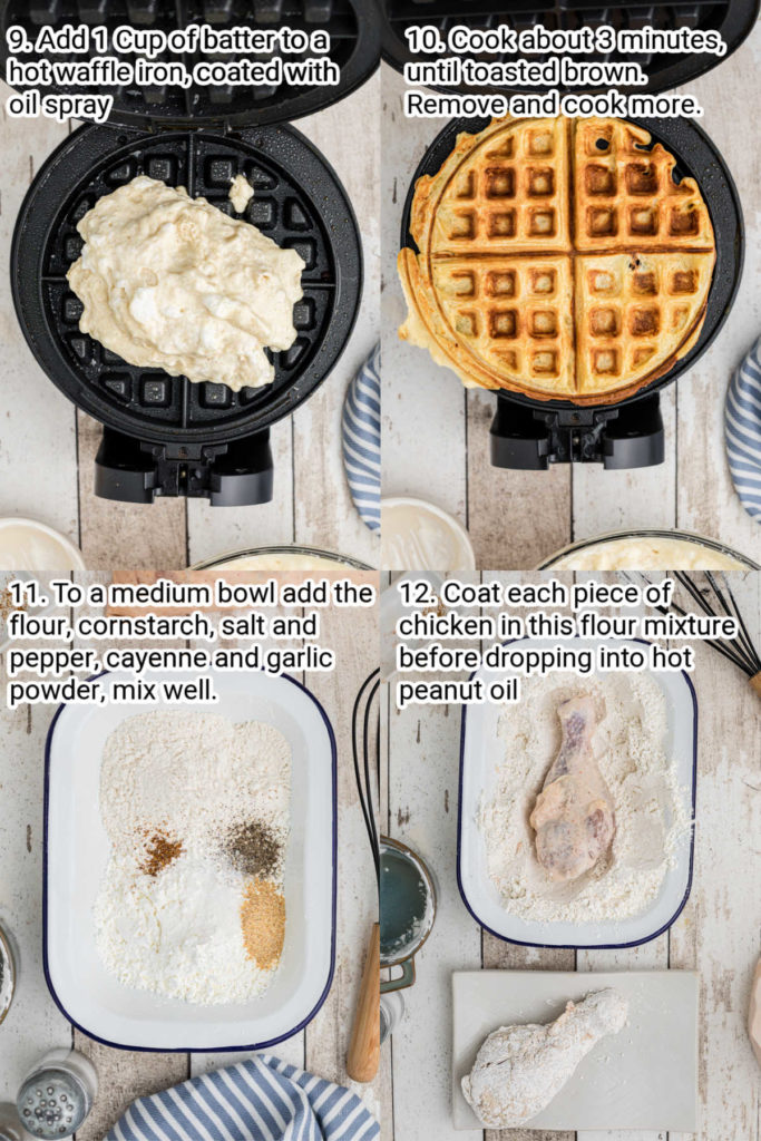 step by step instructions image for how to make chicken and waffles
