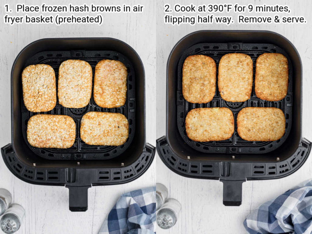 two air fryer baskets lined up next to each other one with frozen hash browns and the other with cooked hash browns