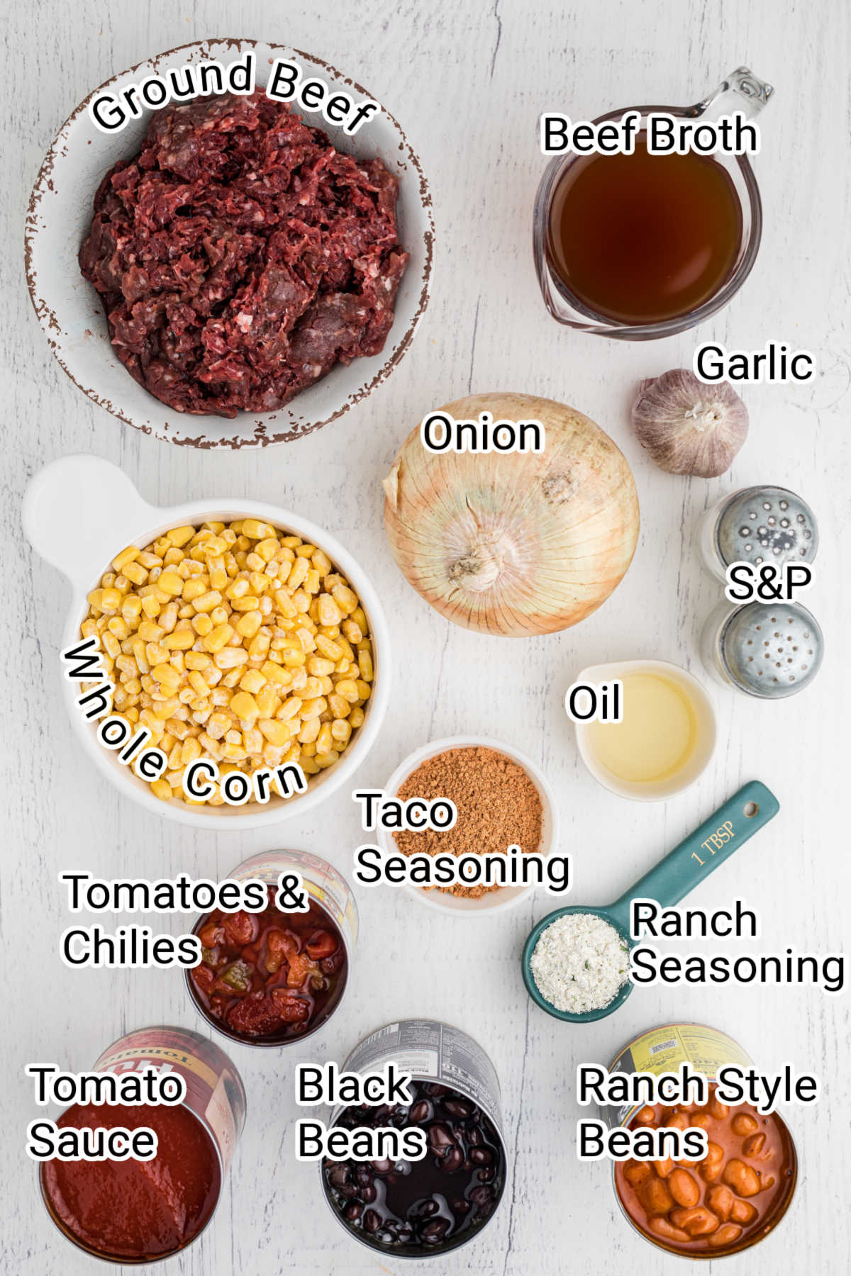 ingredients for taco soup laid out