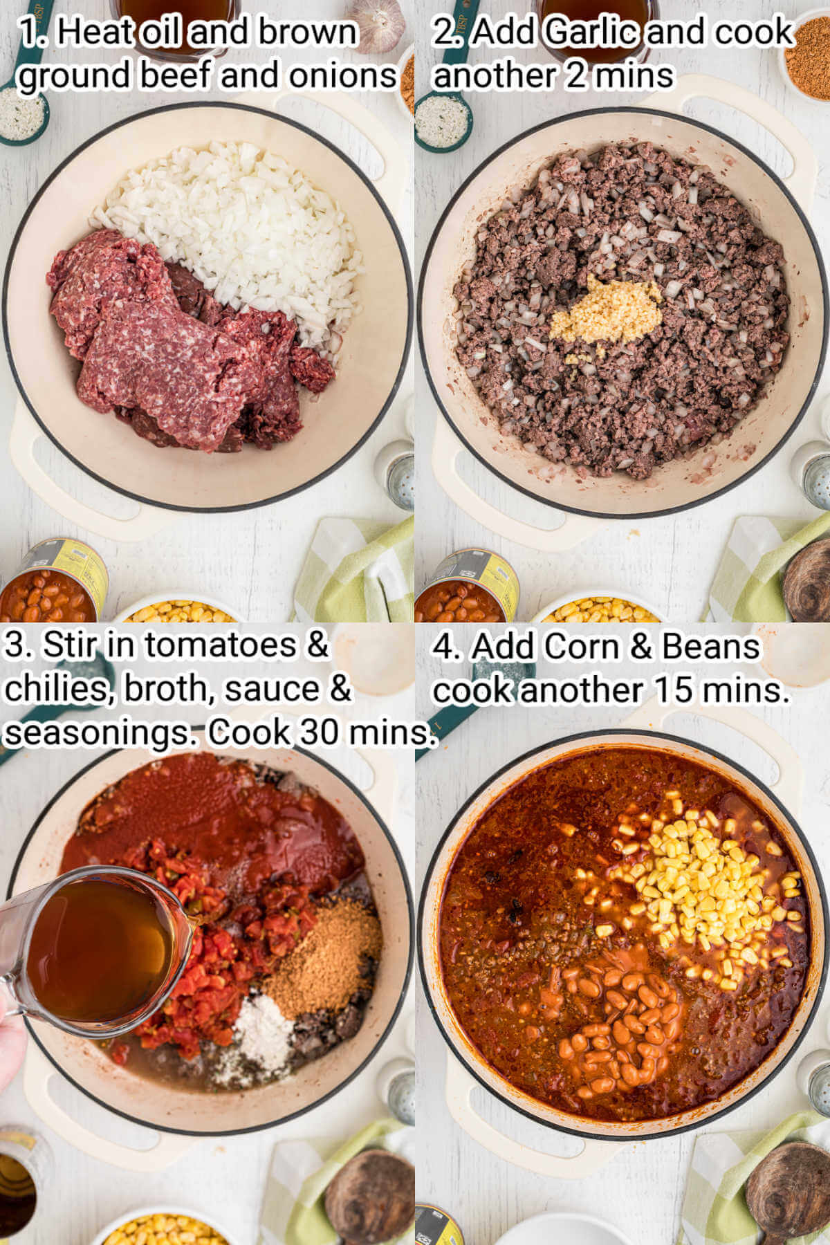 four images instructing how to make taco soup