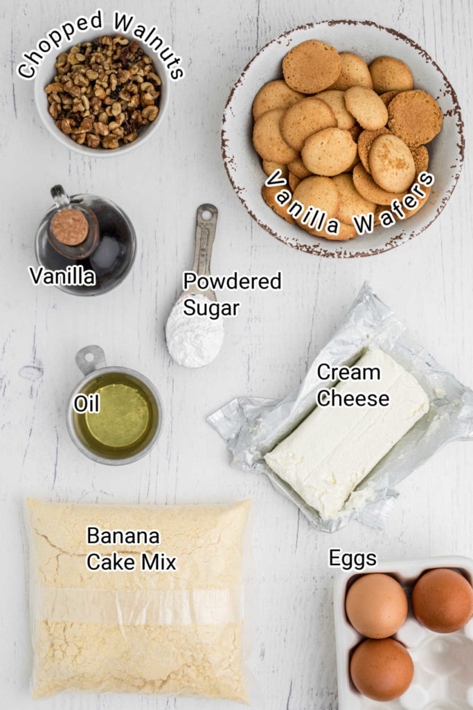 ingredients for making banana pudding brownies, laid out with their description on top