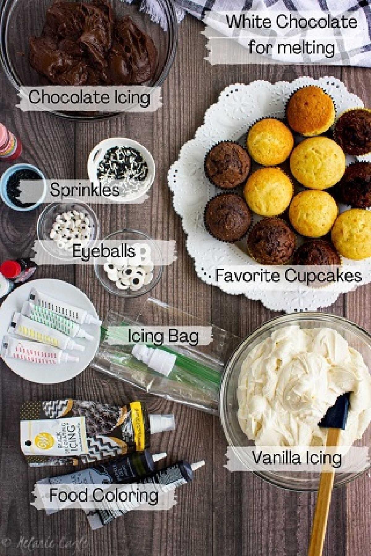ingredients needed for halloween cupcakes