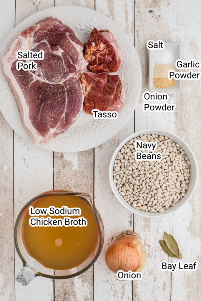 an ingredients image showing what goes into a white beans recipe