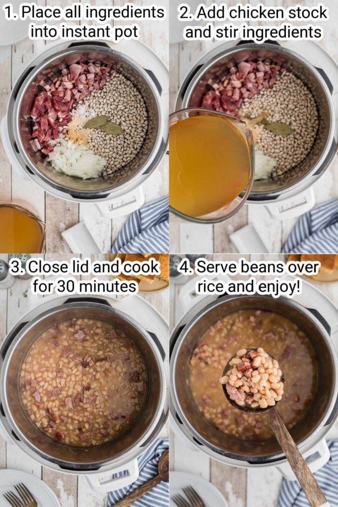 four images showing how to make white beans in the instant pot