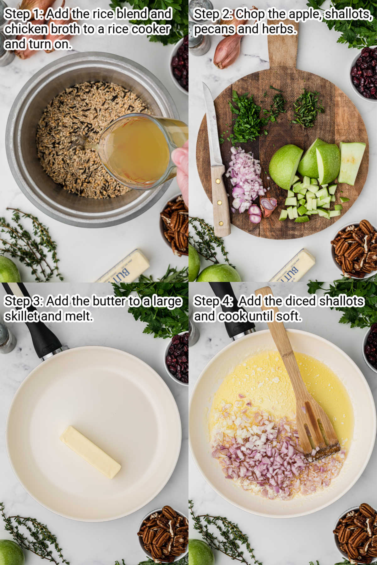 four images showing directions of how to make a cranberry apple rice pilaf