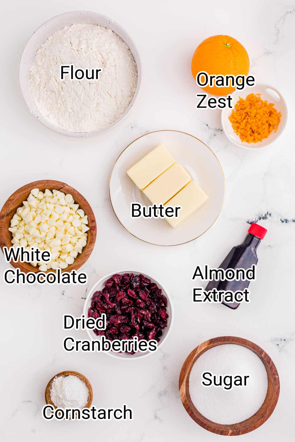 ingredients laid out showing what is in a cranberry orange shortbread cookies