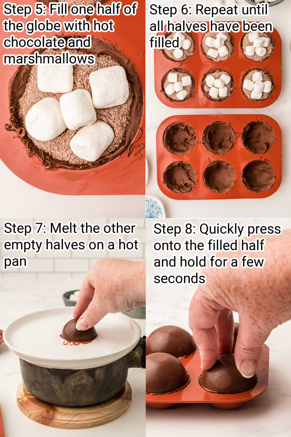 four images next to each other showing how to make hot chocolate balls, steps 5 through 8