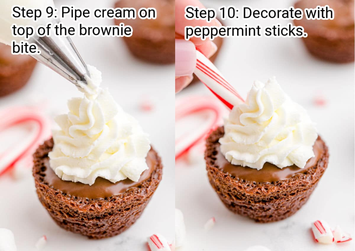 two images side by side, one showing cream being piped onto a brownie bites the other is a decorated brownie bite with cream and peppermint sticks