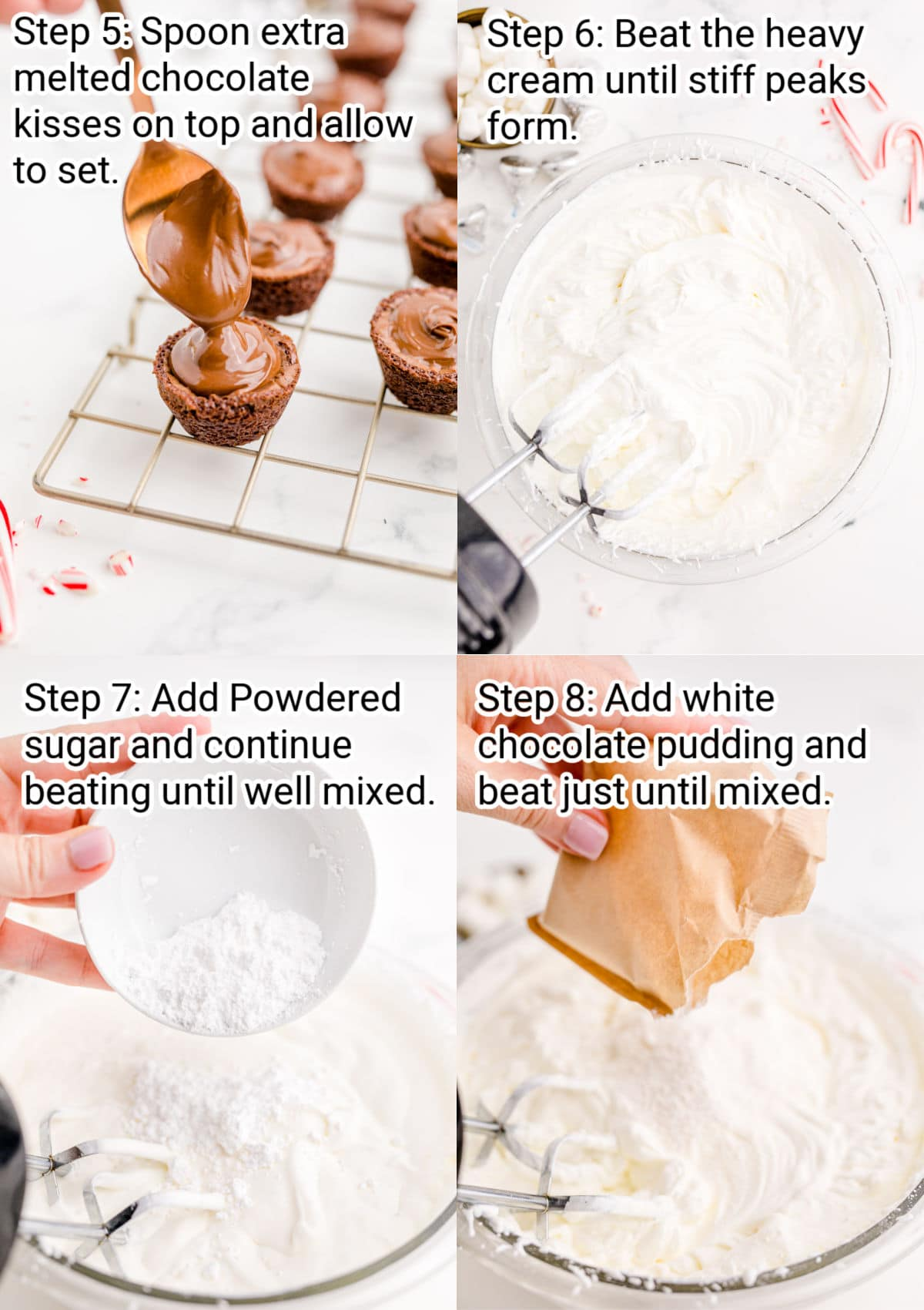 four images showing step by step images on making brownie bites