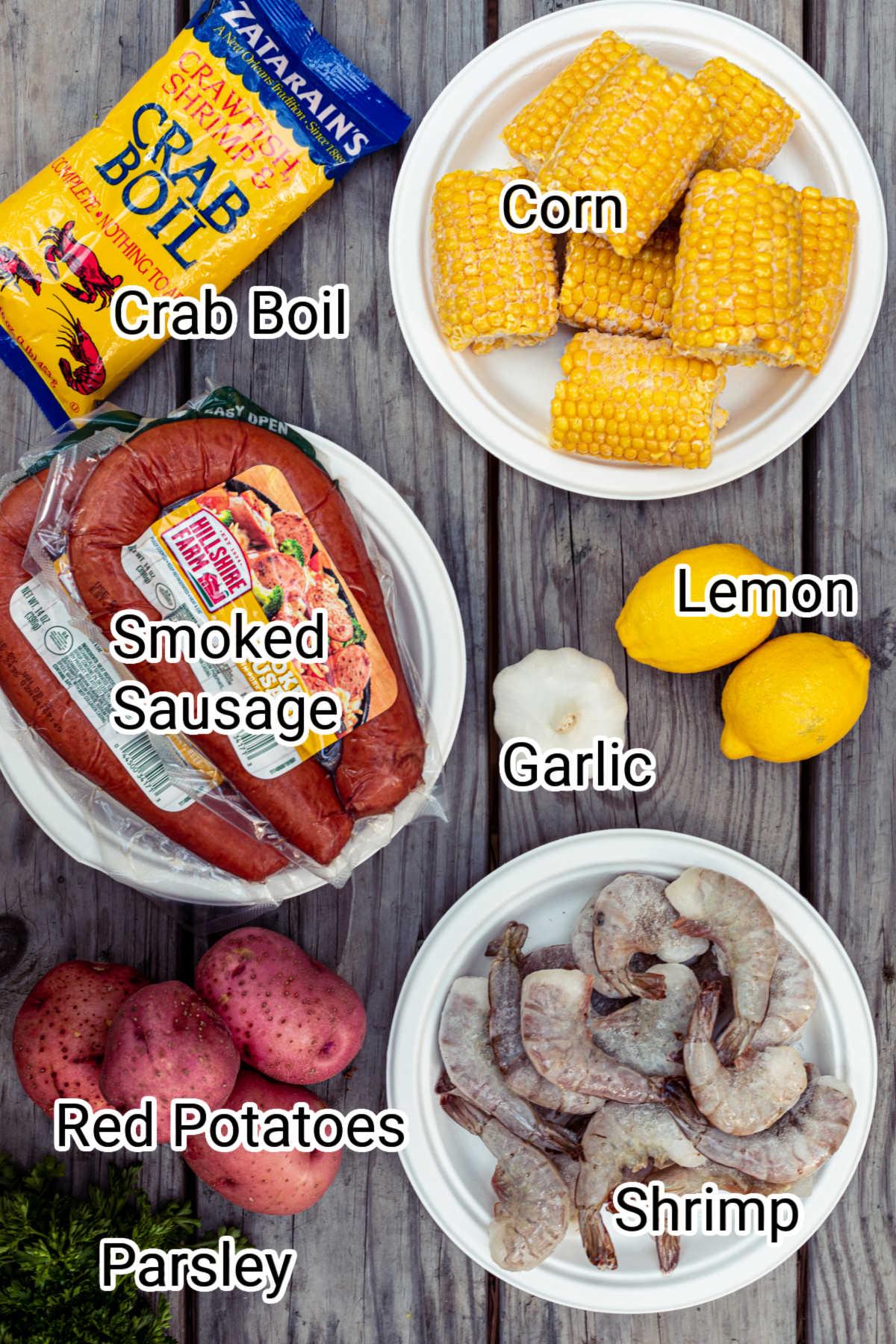 ingredients in a shrimp boil foil packet