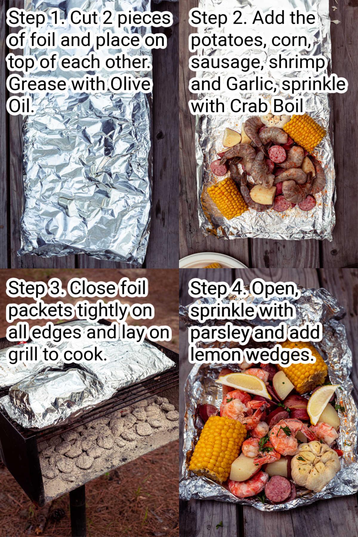 four steps showing how to make a shrimp boil foil packet