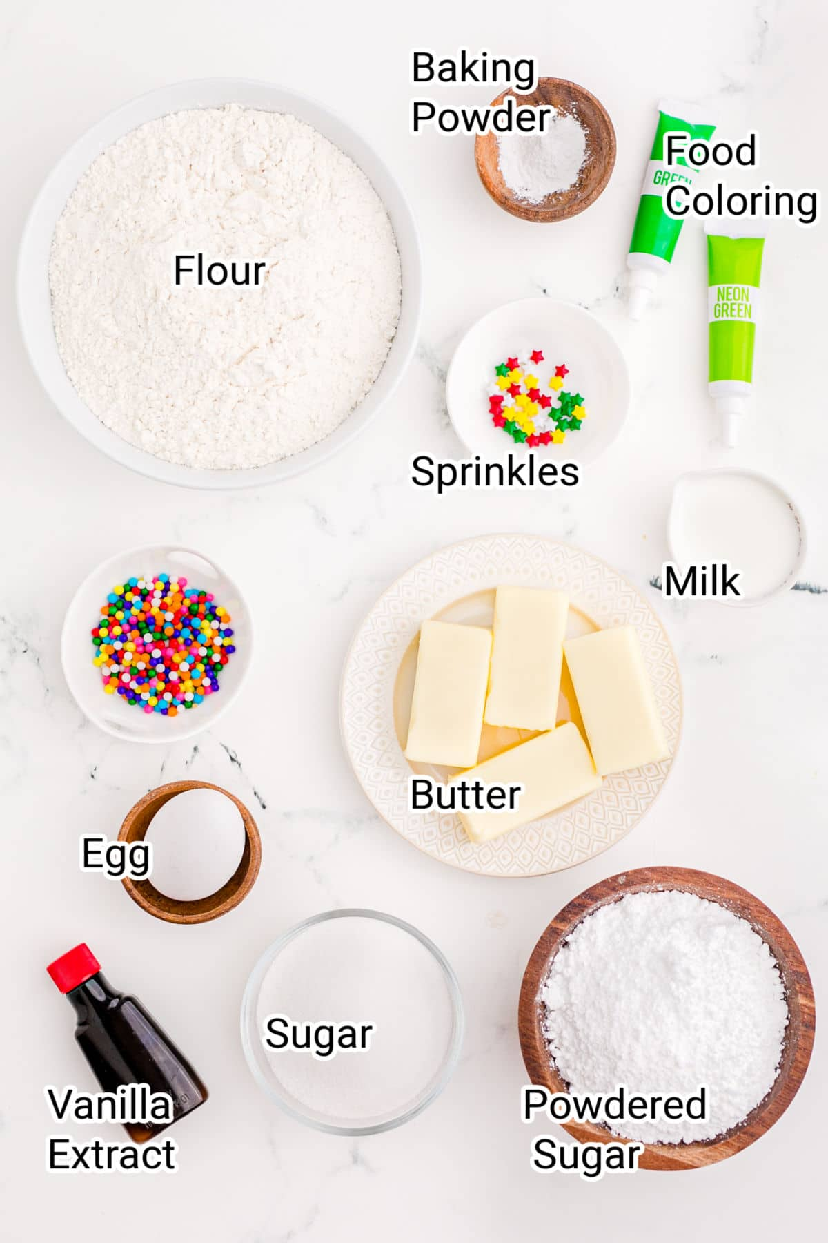 laid out ingredients for a christmas tree cookie stack