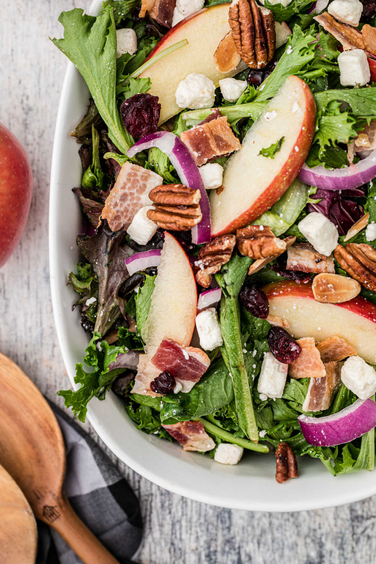 A bowl of salad with apples and red onions and cranberries with a spoon on the side close up