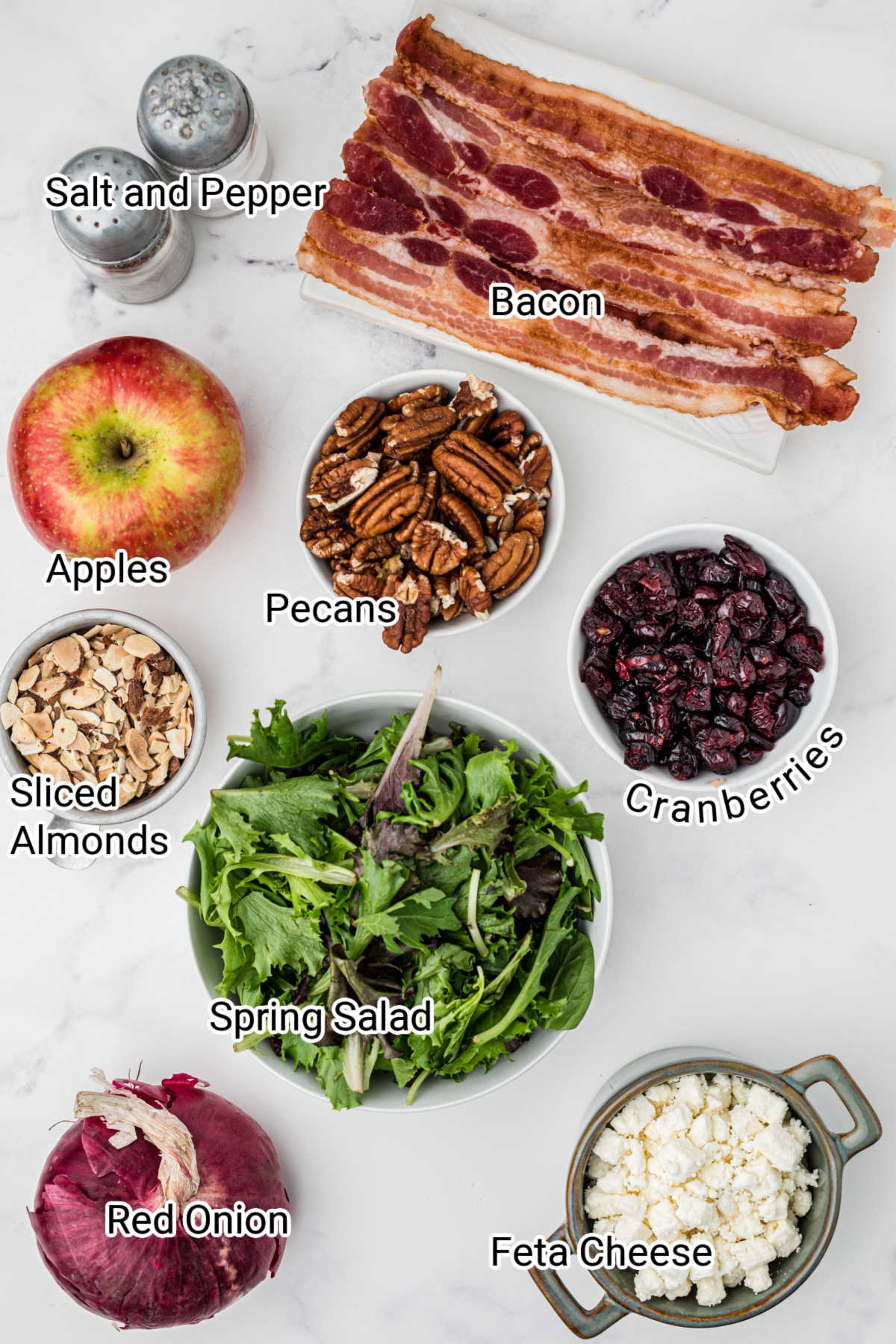 apple cranberry salad ingredients laid out