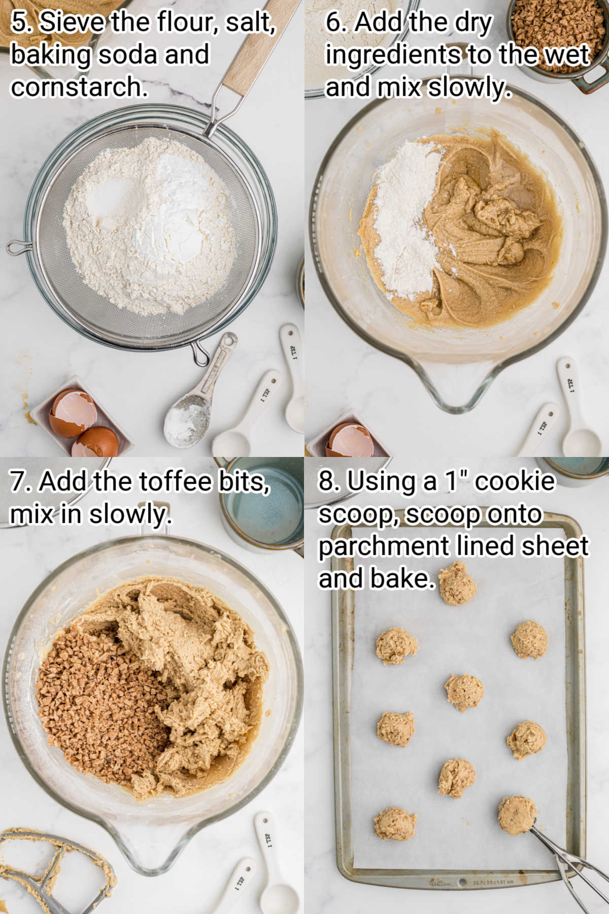 4 images showing step by step how to make butter crunch cookies