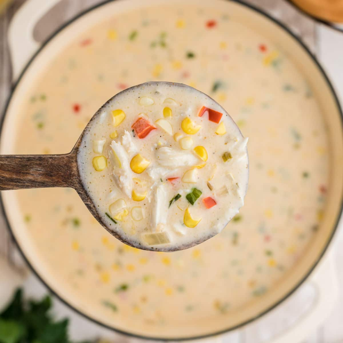 close up of a spoon full of corn and crab bisque above the pot