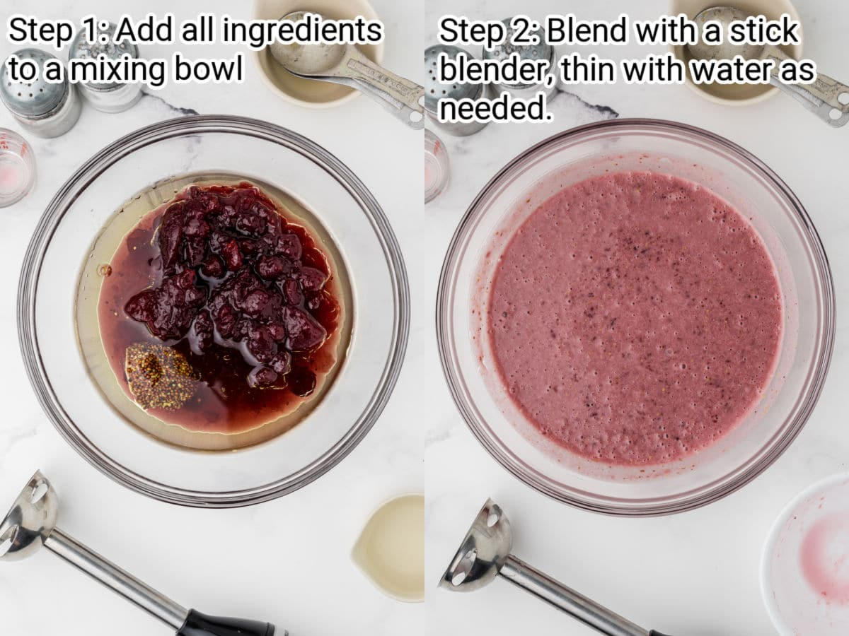 two images showing how to make a cranberry vinaigrette