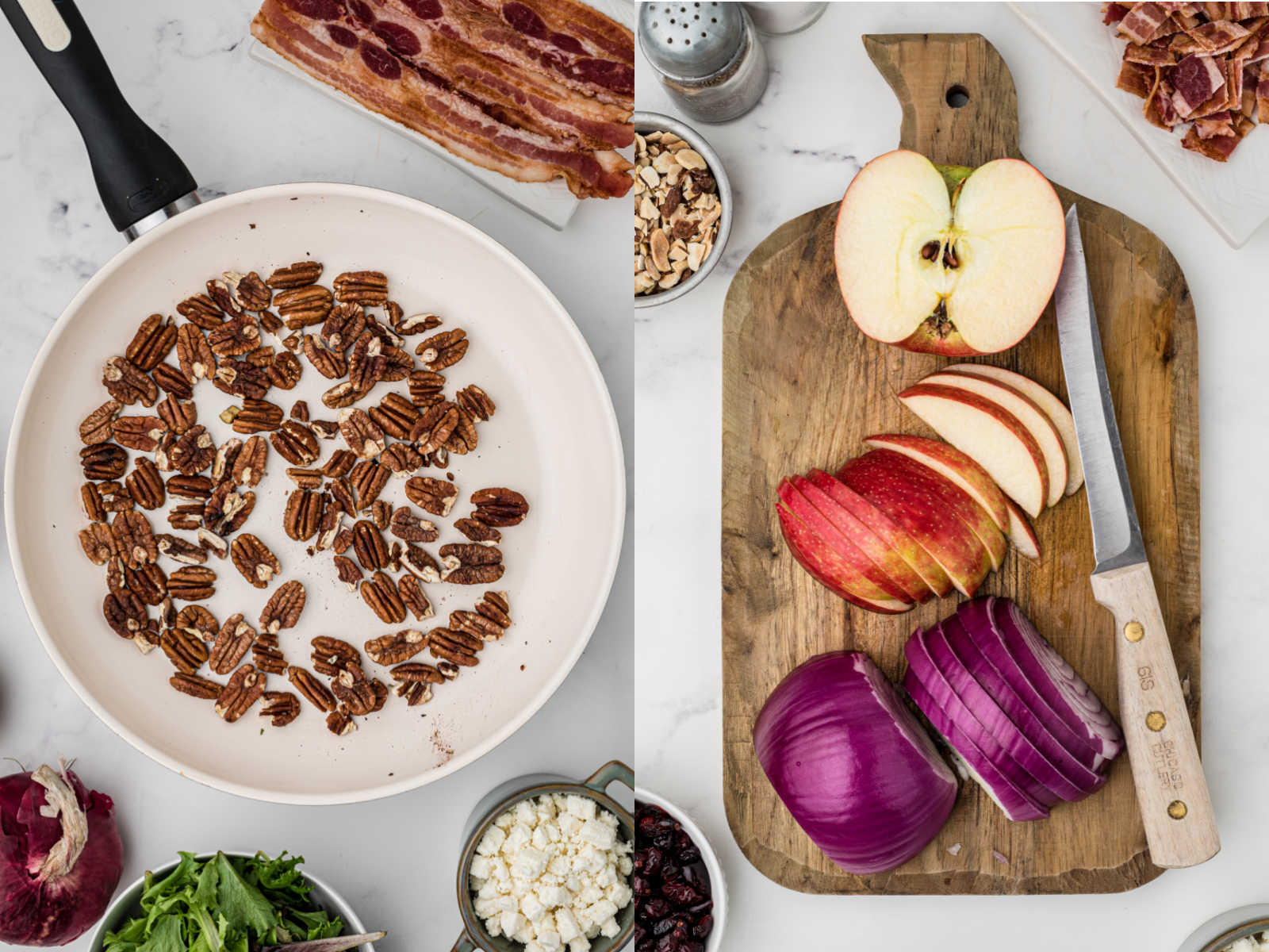 two images, one with a skillet with pecans the other image is a chopping board with red onion and apple