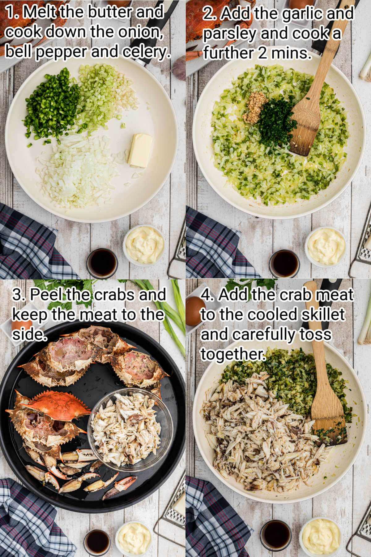 4 images showing how to cook a stuffed crab