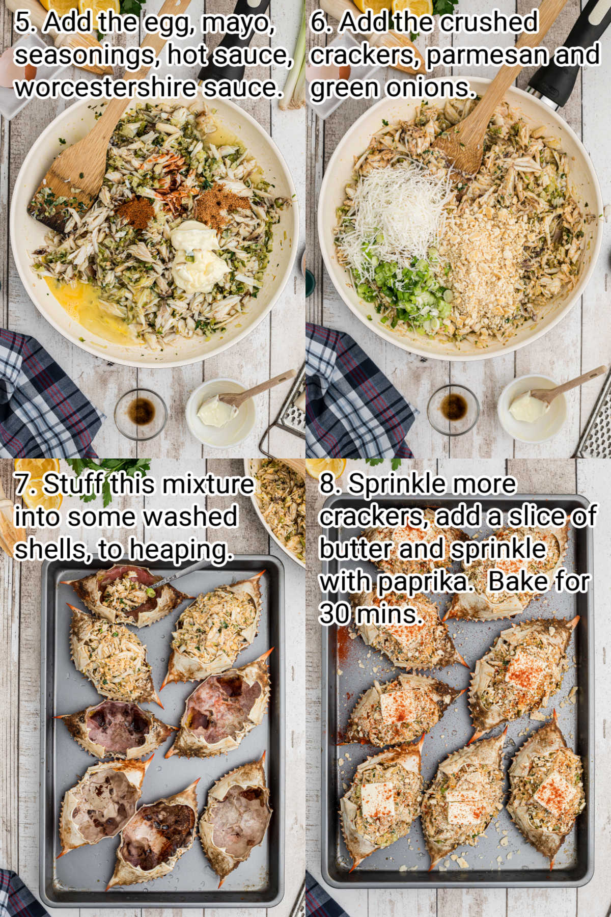 4 images showing the steps how to make a stuffed crab